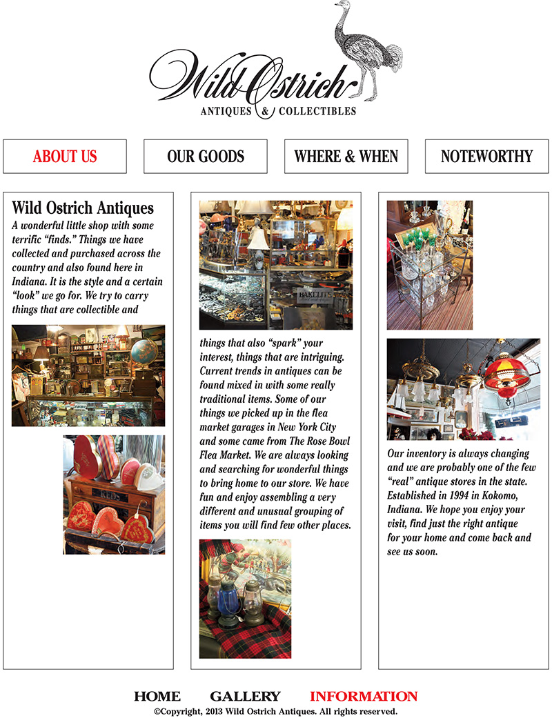 Wild Ostrich Antiques Information Page - About Us